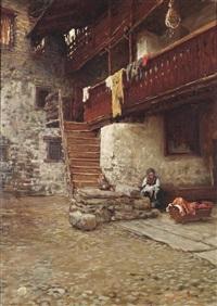 innenhof eines bauerngehöftes mit figürlicher staffage by arnoldo soldini