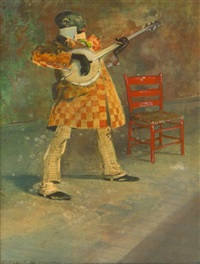 colored banjo player by everett shinn