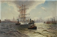 view of hamburg harbour with sailing boat and tugs by alfred jensen