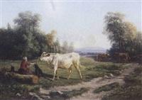 fermière et son troupeau by paul jean pierre gélibert