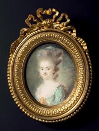 portrait d'une dame de qualité en buste de trois-quarts vers la gauche, presque de face, en robe de soie verte largement décolletée, la coiffure dite en hérisson-couvert d'une calèche retroussée ornée de rubans de soie verte by antoine vestier