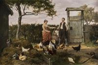 chickens feeding in a farmyard by eugene rémy maes & jan david col
