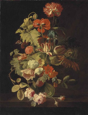 a carnation iris roses tulips and other flowers in a glass vase on a stone ledge by simon pietersz verelst