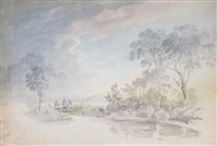 a lake landscape by benjamin (major-general) fisher