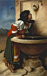 roman girl at a fountain (after léon joseph florentin bonnat) by henry alexander