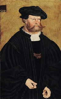 portrait of graf phillip von solms in black, with a black hat by hans döring