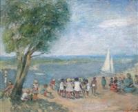 enfants au bord de l'eau by nathan gutman