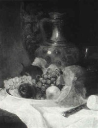 still life with plate of fruit, pitcher and goblet by karl albrecht