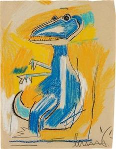 untitled dinosaur by jean michel basquiat