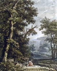 un paysage boisé avec un lac, une femme assise au pied d'un chêne au premier plan by jacob van liender