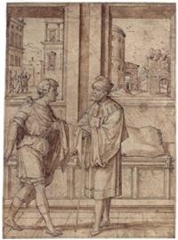 a biblical scene (david seeking refuge with samuel?) by jan swart van groningen