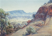 central australian landscape, macdonnell ranges by albert namatjira