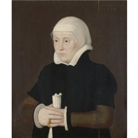 portrait of a lady wearing a black coat with a white collar and cuffs by ambrosius holbein