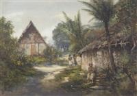 a native village, new guinea by william joseph wadham