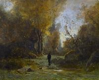 pêcheur dans une rivière boisée by gustave eugène castan