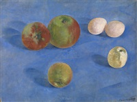 still life. apples and eggs by kuz'ma sergeevich petrov-vodkin