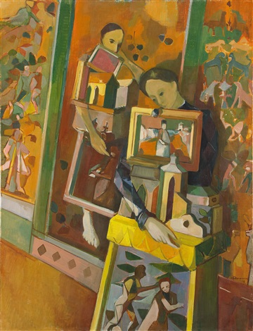 woman with marionettes by endre nemes