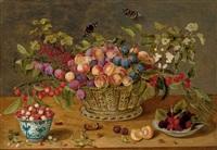 prunes, abricots, cerises et groseilles dans une corbeille avec coupelles de framboises et de fraises des bois sur un entablement by isaac soreau