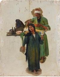 etude d'homme et de jeune fille tenant un bol (study) by ludwig deutsch