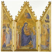 the madonna and child enthroned with saints   jerome, bartholomew... by giovanni di paolo