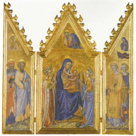 the madonna and child enthroned with saints jerome bartholomew by giovanni di paolo