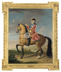 equestrian portrait of king george ii in a landscape with a military camp and infantry beyond by david morier