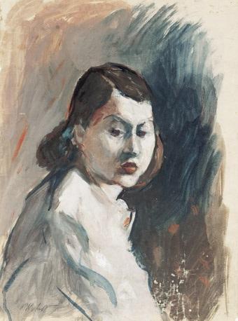 damenportrait mit nach rechts gedrehtem kopf by herbert arlt