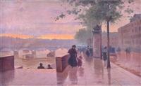 quai de seine animé au crépuscule by léon parent