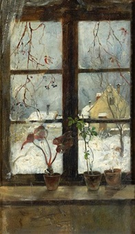 snow scene through a winter window by henry alexander