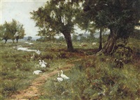 geese and cattle beside a stream by edward wilkins waite
