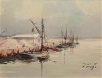 bateaux à quai, brest by pierre brette