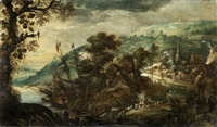 figures around a fire, before an extensive river landscape, with a ship moored in the distance by kerstiaen de keuninck