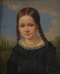 portrait d'une petite fille sur fond de paysages (+ portrait d'un jeune garçon sur fond de paysages; pair) by elisabeth swagers