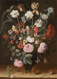 nature morte au bouquet de tulipes et de roses sur un entablement by isaac soreau