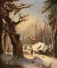 hunters in the wintry woods by karl friedrich lessing