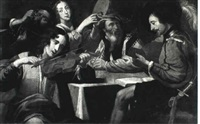 concert of four musicians with a man drinking a glass of  wine by jean valentin (de boulogne)