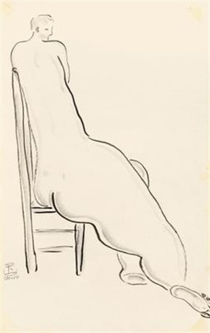 高背椅上的裸女 nude on high back chair by sanyu