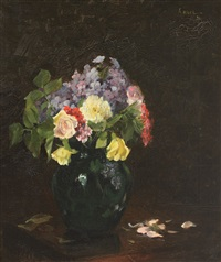 vase with roses and forget-me-not flowers by nicolae angelescu