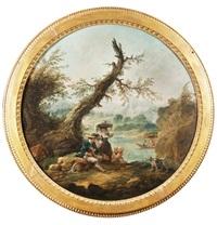 la lavandière et le berger près d'un étang by hubert robert