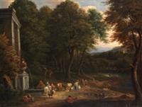 paisaje con pastores y cazadores by mathys schoevaerdts