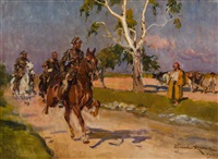 ułani wileńscy na polnej drodze by woiciech (aldabert) ritter von kossak
