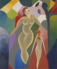deux nus dans un paysage by rené magritte