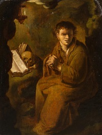 portraits of monks (a pair of works) by jan lievens