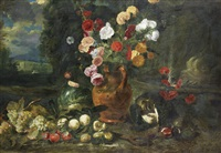 roses, hollyhocks, marigolds and other flowers in a terracotta vase with grapes, plums, peaches and a split melon before an open landscape by jan fyt