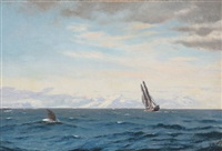 humpback whale and sailing ship in the davis strait by carl (jens erik c.) rasmussen