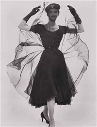 sans titre (anne st. marie in black chiffon) by erwin blumenfeld