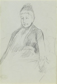 a seated woman wearing a bonnet; study of a child (double-sided) by mary cassatt
