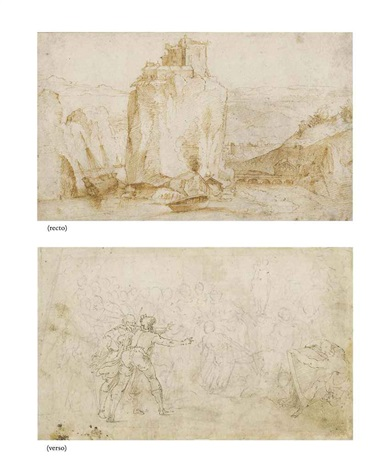 a clifftop fortress in a rocky landscape vessels anchored below recto and compositional design verso by ercole setti