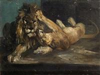 liegendes löwenpaar by paul friedrich meyerheim