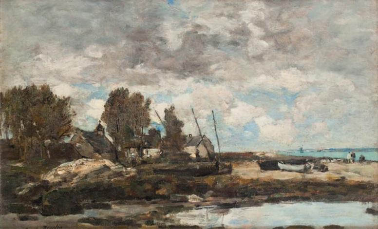 rivage à plougastel marée basse by eugène boudin